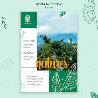 Vertikale plakatschablone für natur mit wilder lebenslandschaft