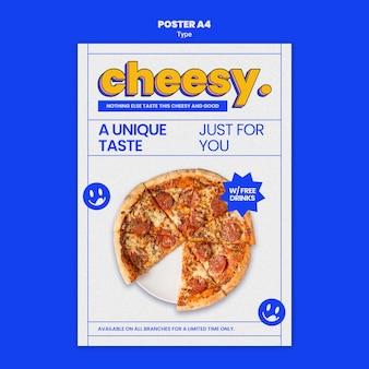 Vertikale plakatschablone für neuen käsigen pizzageschmack