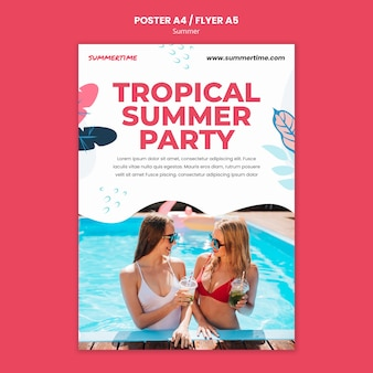 Vertikale plakatschablone für sommerspaß am pool