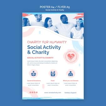 Vertikale plakatschablone für soziale aktivität und wohltätigkeit