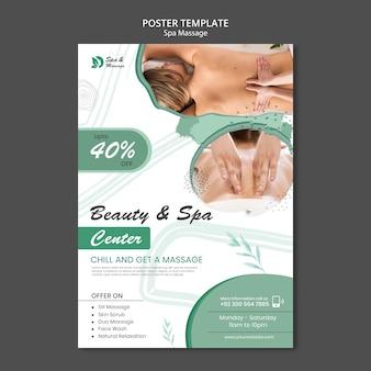 Vertikale plakatschablone für spa-massage mit frau