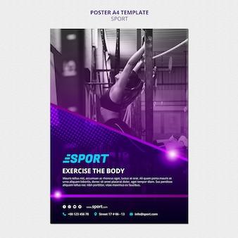 Vertikale plakatschablone für sportliche aktivitäten