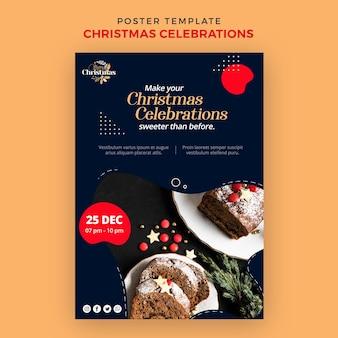 Vertikale plakatschablone für traditionelle weihnachtsdesserts