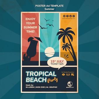 Vertikale plakatschablone für tropische strandparty