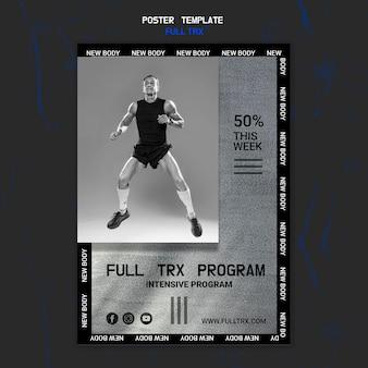 Vertikale plakatschablone für trx training mit männlichem athleten