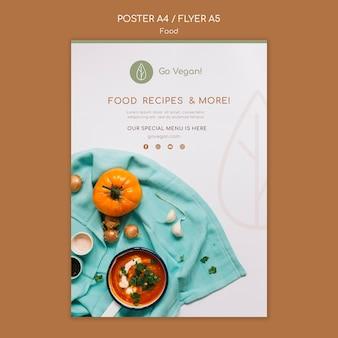 Vertikale plakatschablone für veganes essen