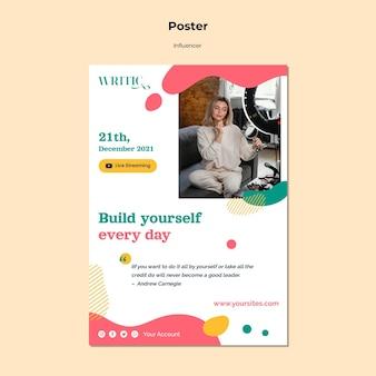 Vertikale plakatschablone für weiblichen einflussnehmer der sozialen medien