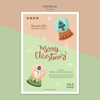 Vertikale plakatschablone für weihnachten mit schneekugeln