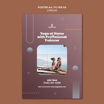 Vertikale plakatschablone für yoga-übung und übung