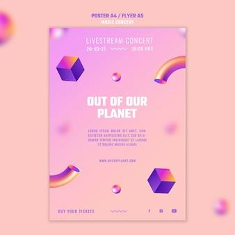 Vertikale plakatschablone von außerhalb unseres planetenmusikkonzerts