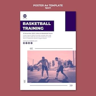 Vertikale plakatschablone zum spielen des basketballs
