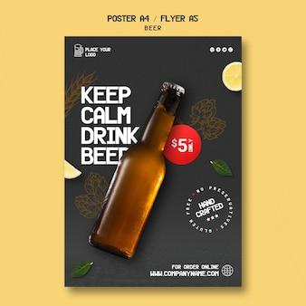Vertikale plakatschablone zum trinken von bier