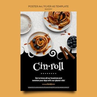 Vertikale plakatvorlage für bäckerei