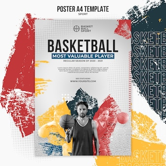 Vertikale plakatvorlage für basketball mit männlichem spieler Kostenlosen PSD