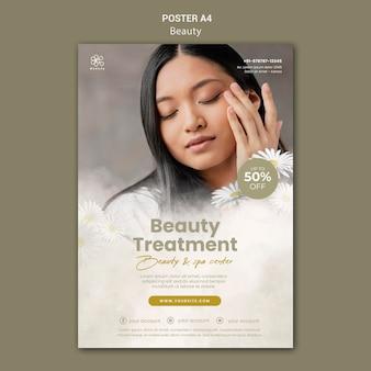 Vertikale plakatvorlage für beauty und spa mit frauen- und kamillenblüten