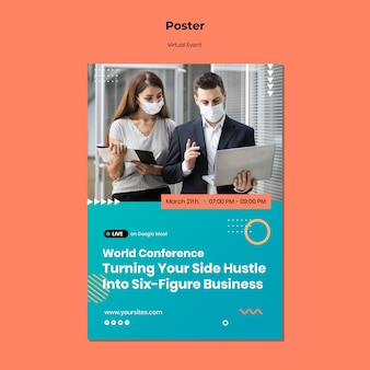 Vertikale plakatvorlage für ceo master event konferenz