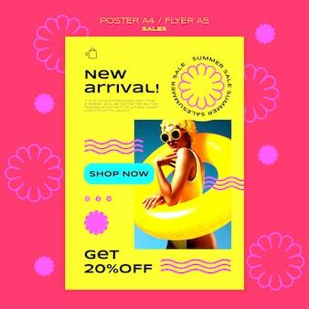 Vertikale plakatvorlage für den sommerverkauf