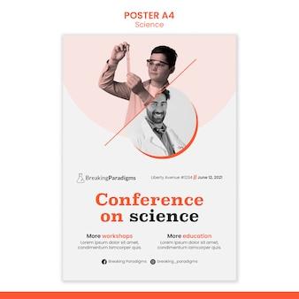 Vertikale plakatvorlage für die konferenz der neuen wissenschaftler