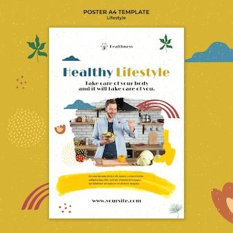 Vertikale plakatvorlage für einen gesunden lebensstil