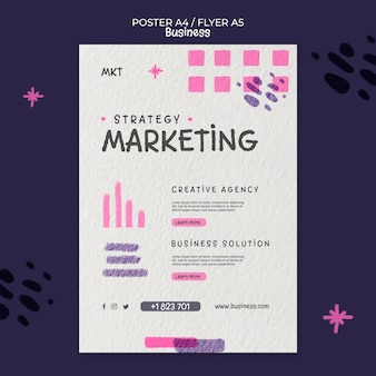 Vertikale plakatvorlage für marketingagentur