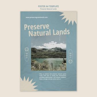 Vertikale plakatvorlage für naturschutz mit landschaft