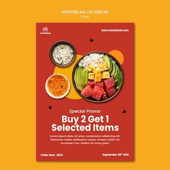 Vertikale plakatvorlage für restaurant mit schüssel mit gesundem essen