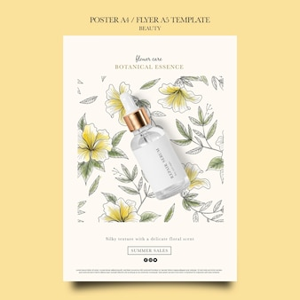 Vertikale plakatvorlage für schönheitsprodukte mit handgezeichneten blumen