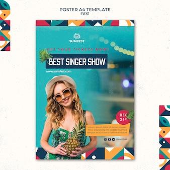 Vertikale plakatvorlage für sommerparty