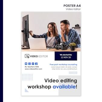 Vertikale plakatvorlage für videobearbeitungsworkshop