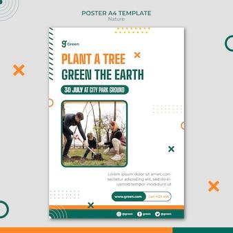 Vertikale plakatvorlage zur rettung der natur