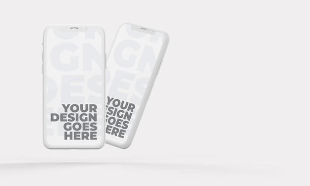 Vertikale position des schwebenden weißen smartphone-modells und realistische schatten