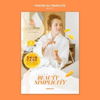 Vertikale posterschablone für home-spa-hautpflege mit frau und orangenscheiben