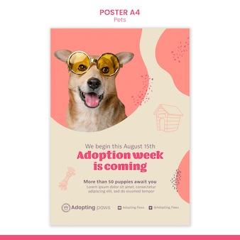 Vertikale postervorlage für die adoption von haustieren mit hund