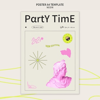 Vertikale postervorlage für neon-partys