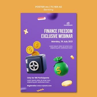 Vertikale postervorlage für online-banking und finanzen