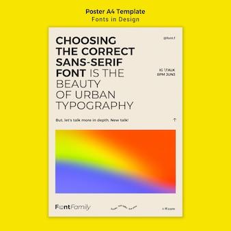 Vertikale postervorlage für schriftarten und design