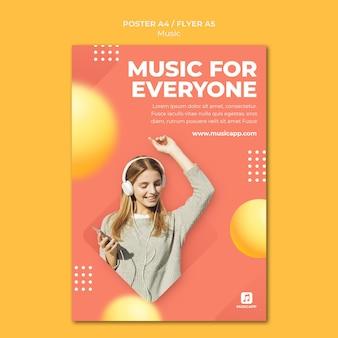 Vertikale postervorlage zum online-streaming von musik mit einer frau mit kopfhörern
