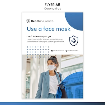 Vertikaler flyer für coronavirus-pandemie mit medizinischer maske