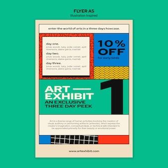 Vertikaler flyer für kunstausstellung