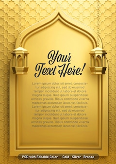 Vertikaler goldener 3d-render des grußkartenplakats copyspace ramadan eid mubarak islamisches thema