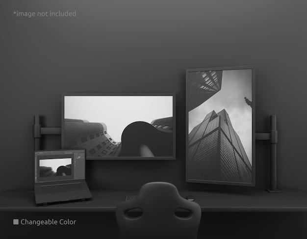 Vertikaler und horizontaler pc-desktop-bildschirm mit laptop-bildschirmmodell
