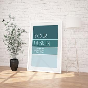 Vertikales gerahmtes plakatmodell im modernen innenraum mit weißer backsteinmauer