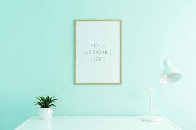 Vertikales hölzernes plakatrahmenmodell auf arbeitstisch im wohnzimmerinnenraum auf leerem weißem farbwandhintergrund. 3d-rendering.