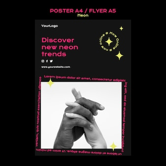 Vertikales neon-poster für neue online-trends