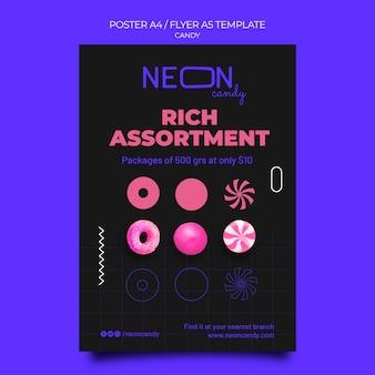 Vertikales neon-poster für süßwarenladen