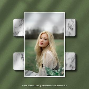 Vertikales papierrahmen-fotomodell mit schatten- und marmorhintergrund