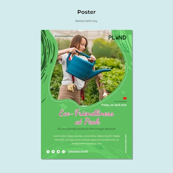 Vertikales plakat der mutter-erde-tagesfeier