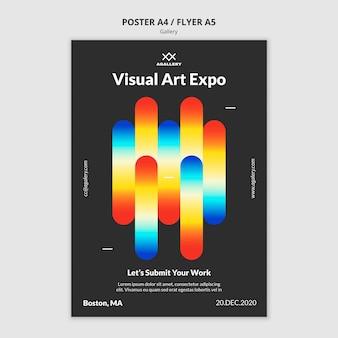 Vertikales plakat für ausstellung der modernen kunst