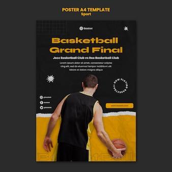 Vertikales plakat für basketballspiel mit männlichem spieler