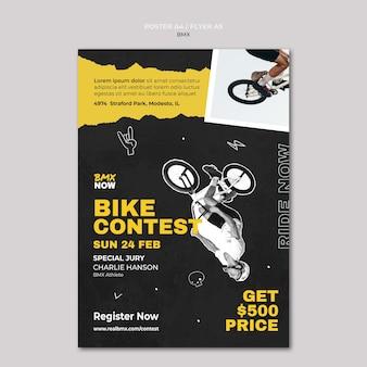 Vertikales plakat für bmx-radfahren mit mann und fahrrad